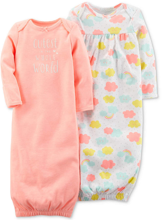 Carter\'s 2-Pack Graphic-Print 1-Pc. Cotton Sleeper Gowns, Baby Girls ...