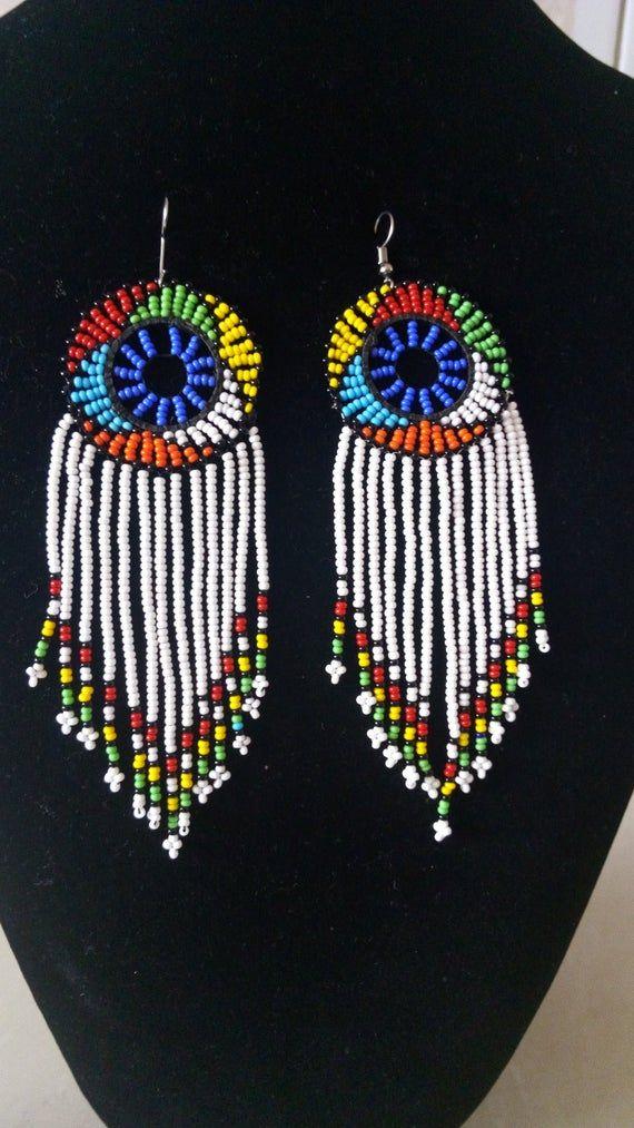 Photo of ON SALE White Zulu Beaded Earrings, African Earrings, African Jewelry, Hoop Beaded Earrings, Women E