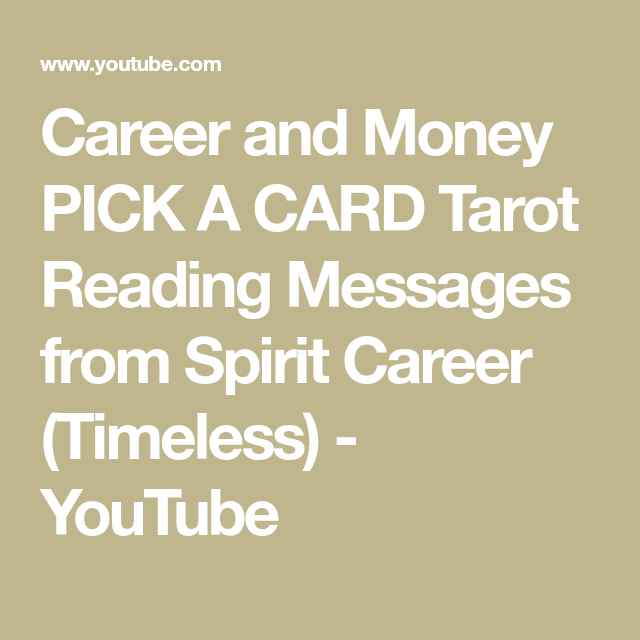 Career and Money PICK A CARD Tarot Reading Messages from