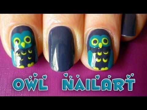 easy owl nail art tutorial for fall/autumn or halloween ...