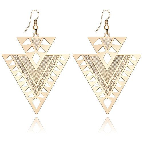 Happy Source Special Jewelry Double Triangle Hollow Dangle Earrings Rose Golden Color