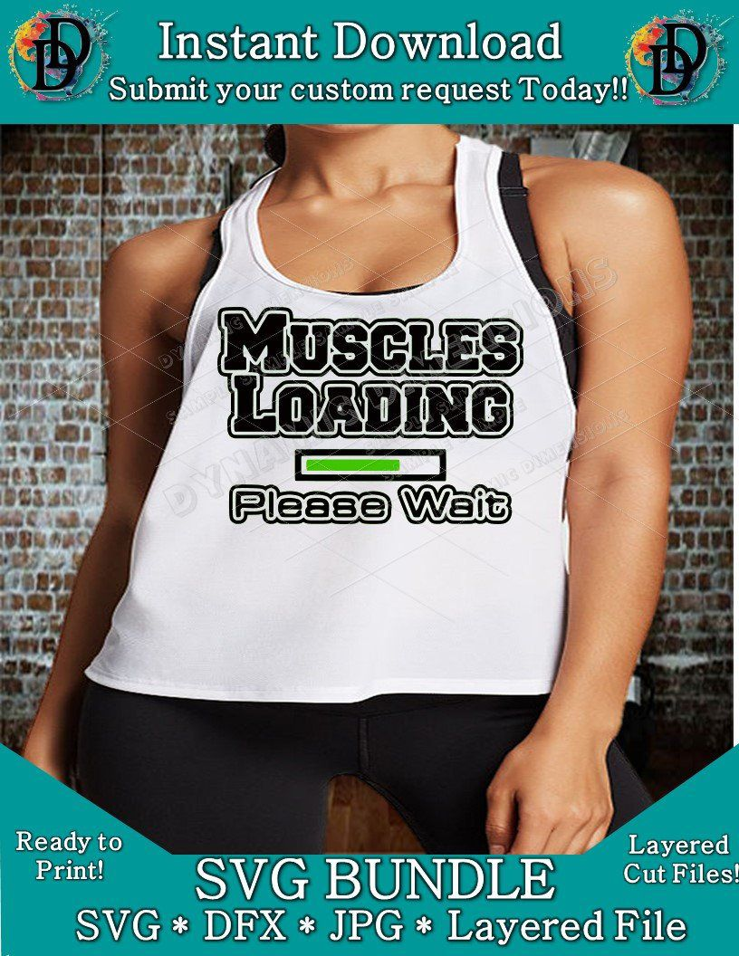 910c3dd1 Excited to share this item from my #etsy shop: Muscles Loading Please Wait  SVG - dxf- Cut file - Silhouette Cricut - Scan N Cut Exercise - Weight  Lifting ...