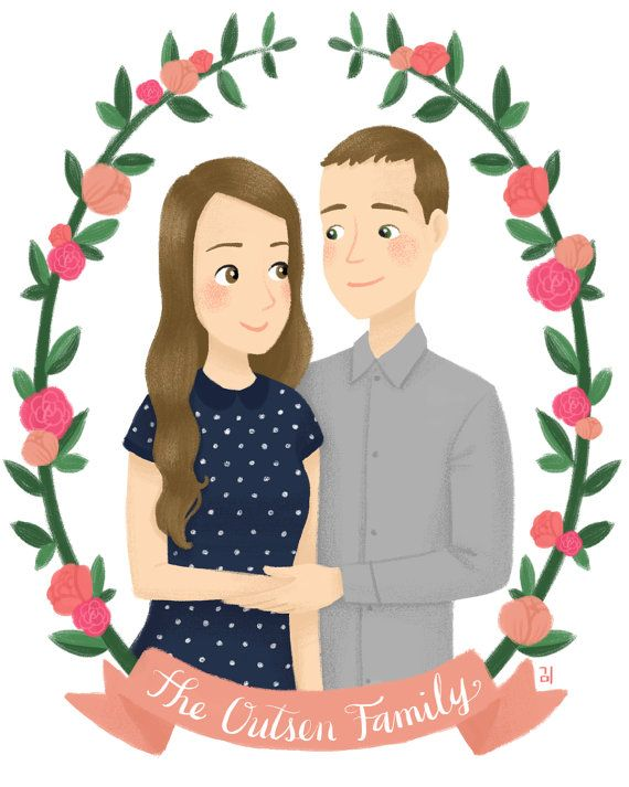 Custom Couples Portrait Illustration by emkimothy on Etsy