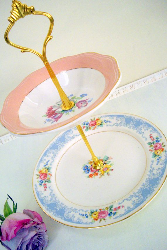 Free Shipping  VINTAGE 2 Tier Pink & Blue by MelatiRose on Etsy, $32.00