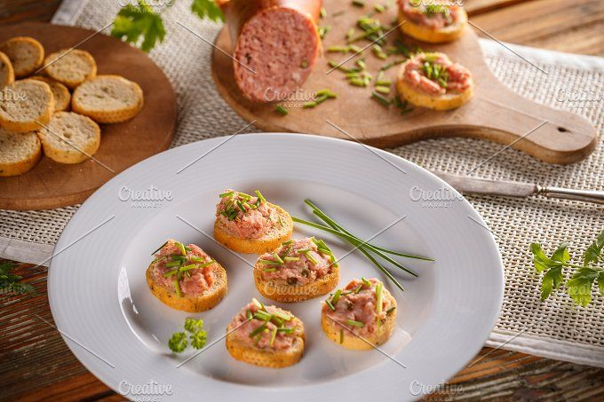 #Bruschetta with meat spread  Bruschetta with meat spread make for appetizer plate