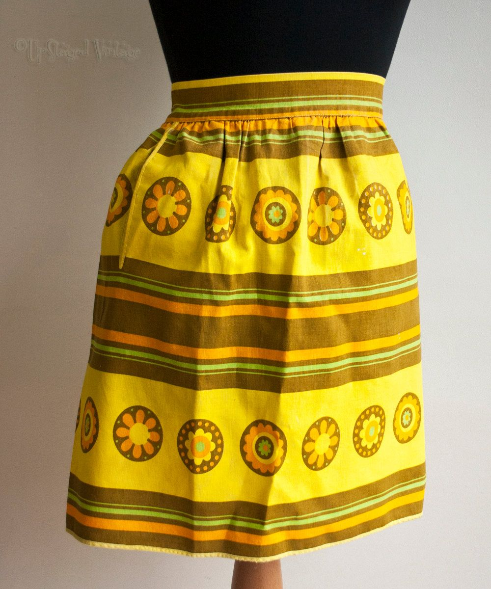 Vintage Retro 1960s Yellow, Orange & Brown St Michael Baking Apron by UpStagedVintage on Etsy