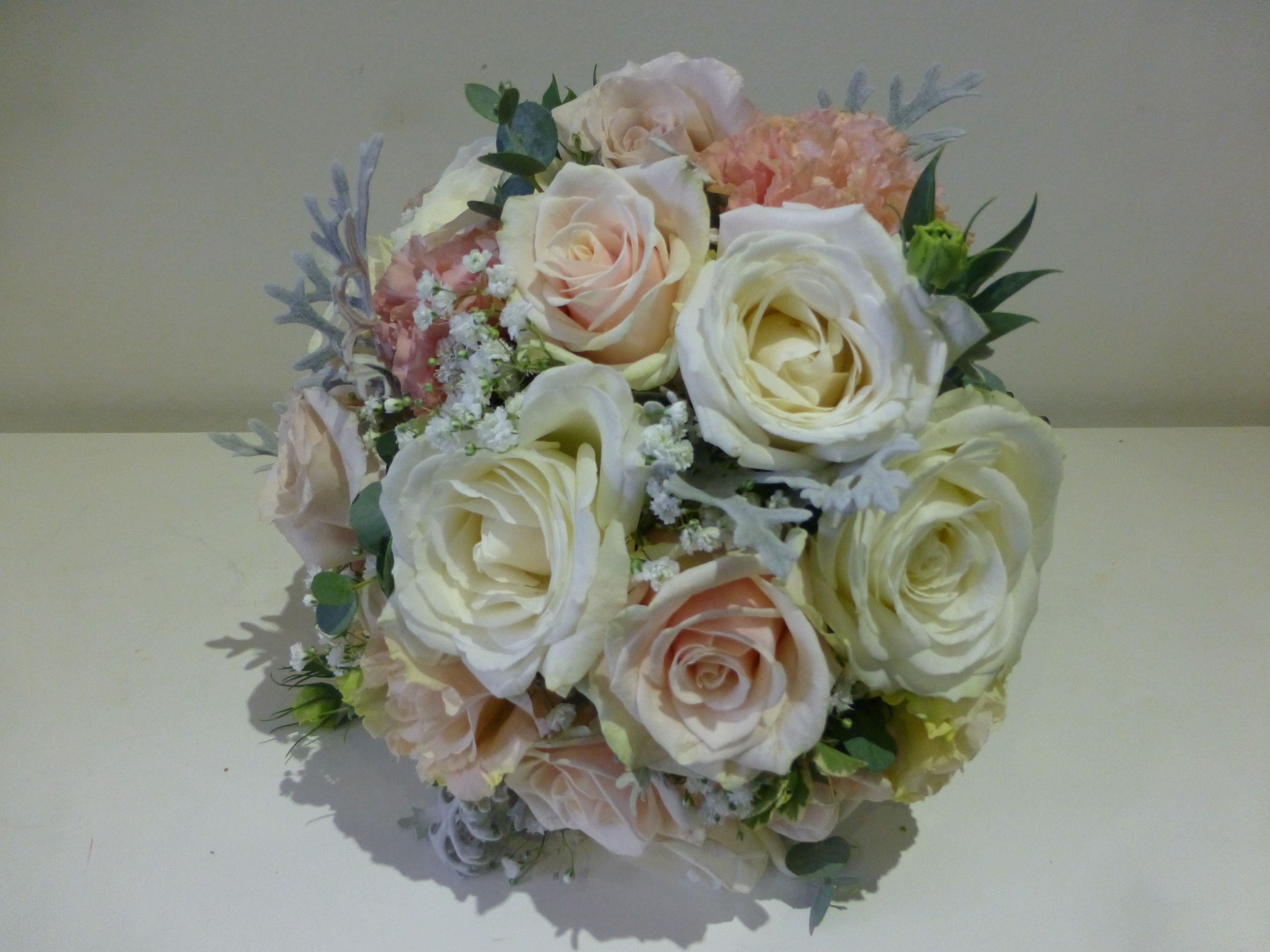 Flowers by shirley garden rose bouquets - Bridal Bouquet Avalanche Roses Peach And Ivory Lisianthus Eucalyptus And Senecio