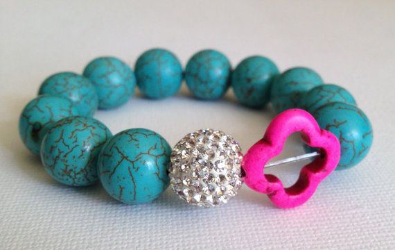The Lara - hot pink and turquoise howlite stone bead bracelet accented with pave crystal bead