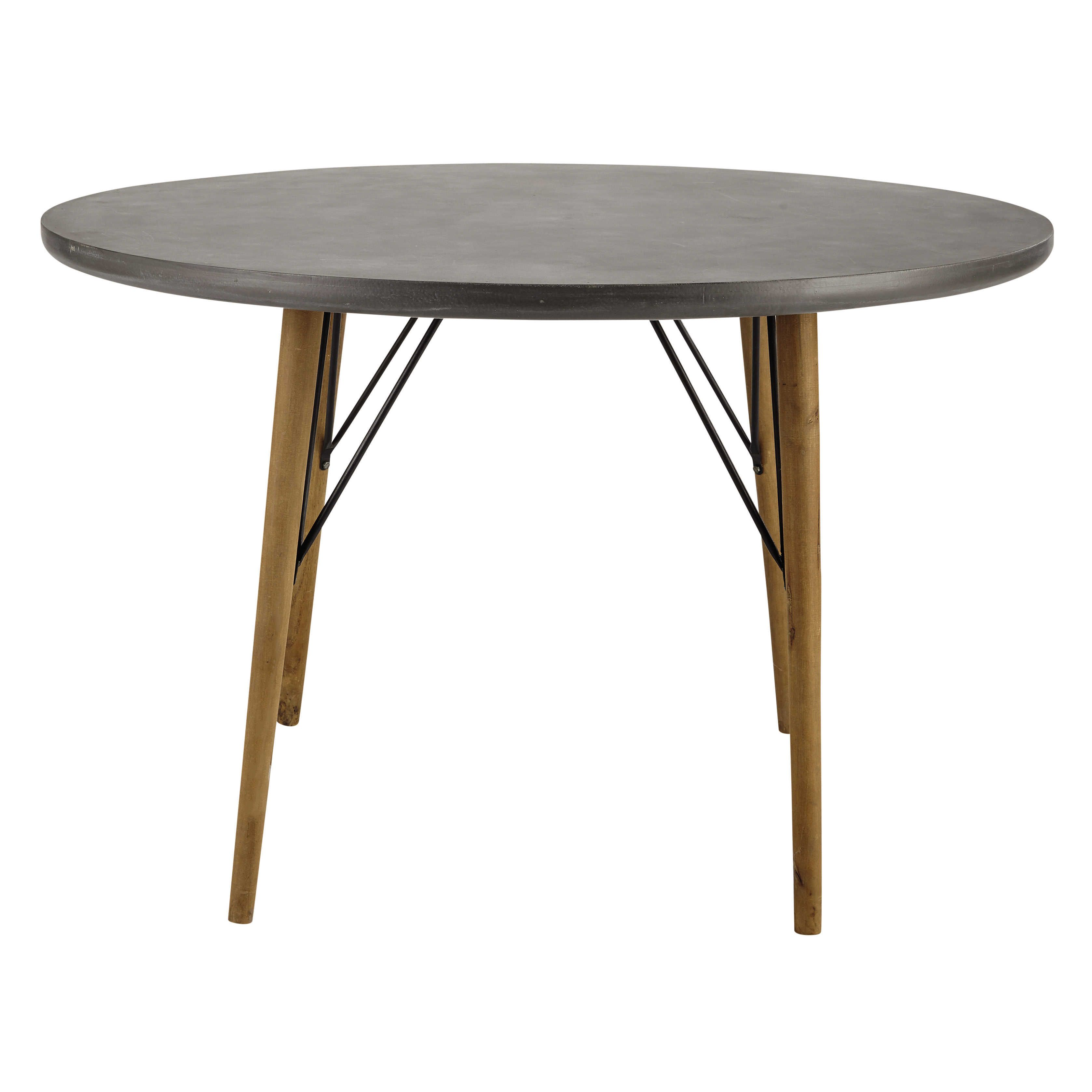 Wooden round dining table d 120cm cleveland table salle for Table de salle a manger maison du monde