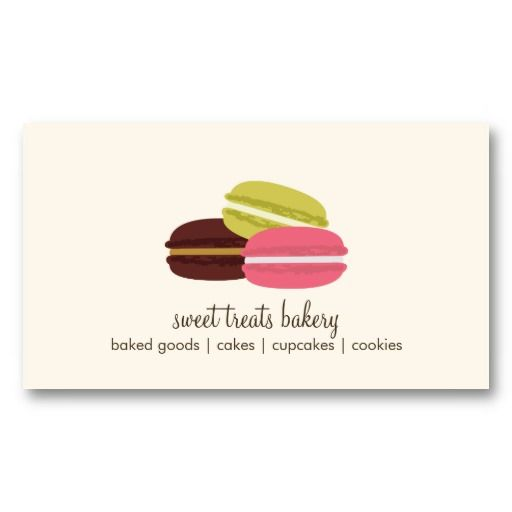 French Macarons Business Card Template Bakery Food Desserts