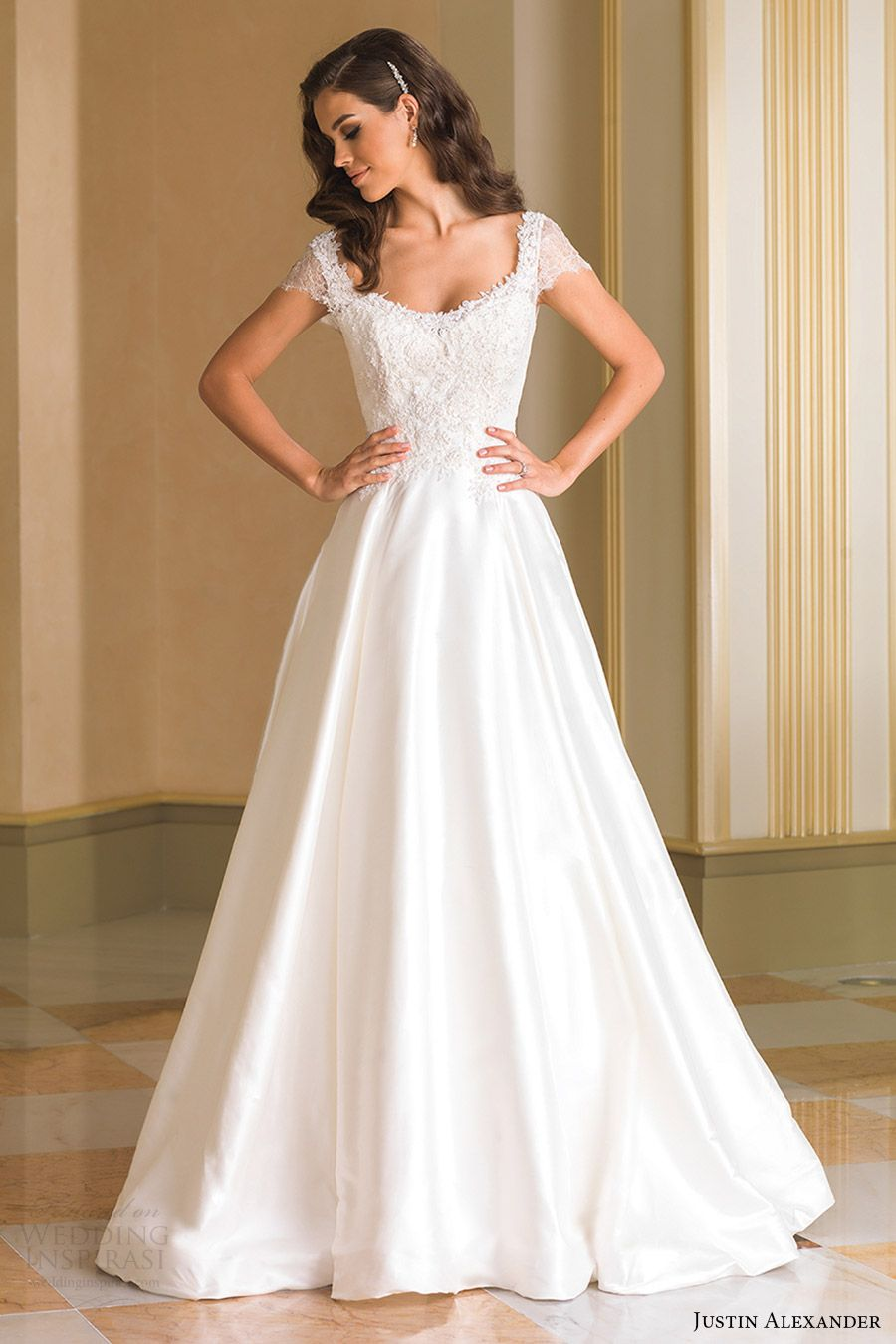 Justin Alexander Bridal Fall 2016 Short Sleeves Scoop Neck Aline Wedding Dress 8861 Mv