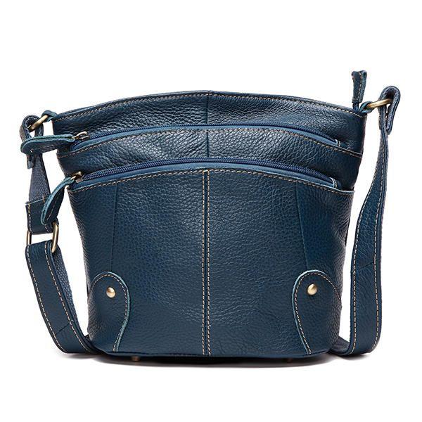 Women Genuine Leather Bucket Bag Tribal Shoulder Bag