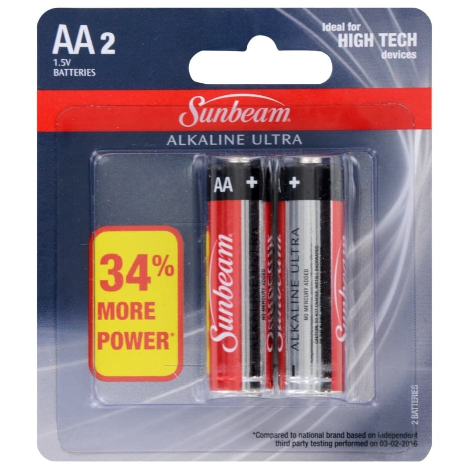 Sunbeam Alkaline Ultra Aa Batteries 2 Ct Packs Button Cell Travel Size Products Dollar Tree Store
