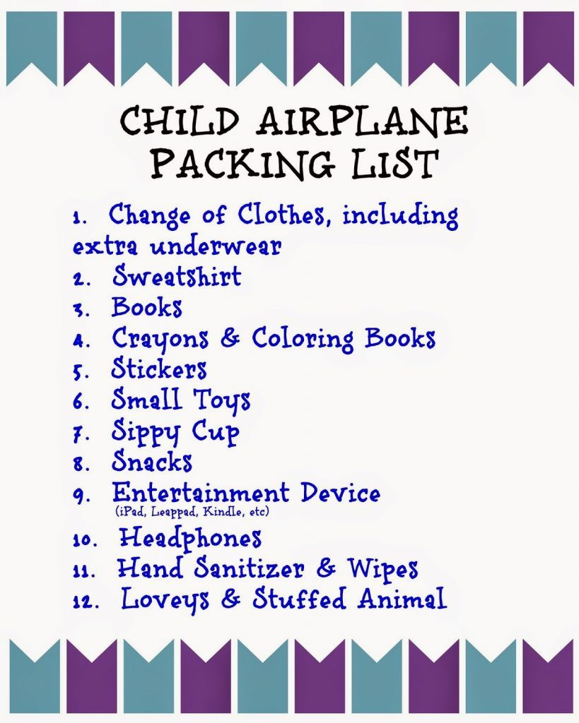 flying with children tips and printable packing lists for kids