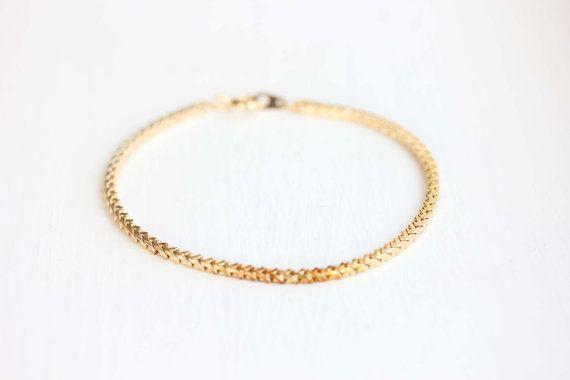 Gold Chain Bracelet Block Chain Bracelet by diamentdesigns on Etsy