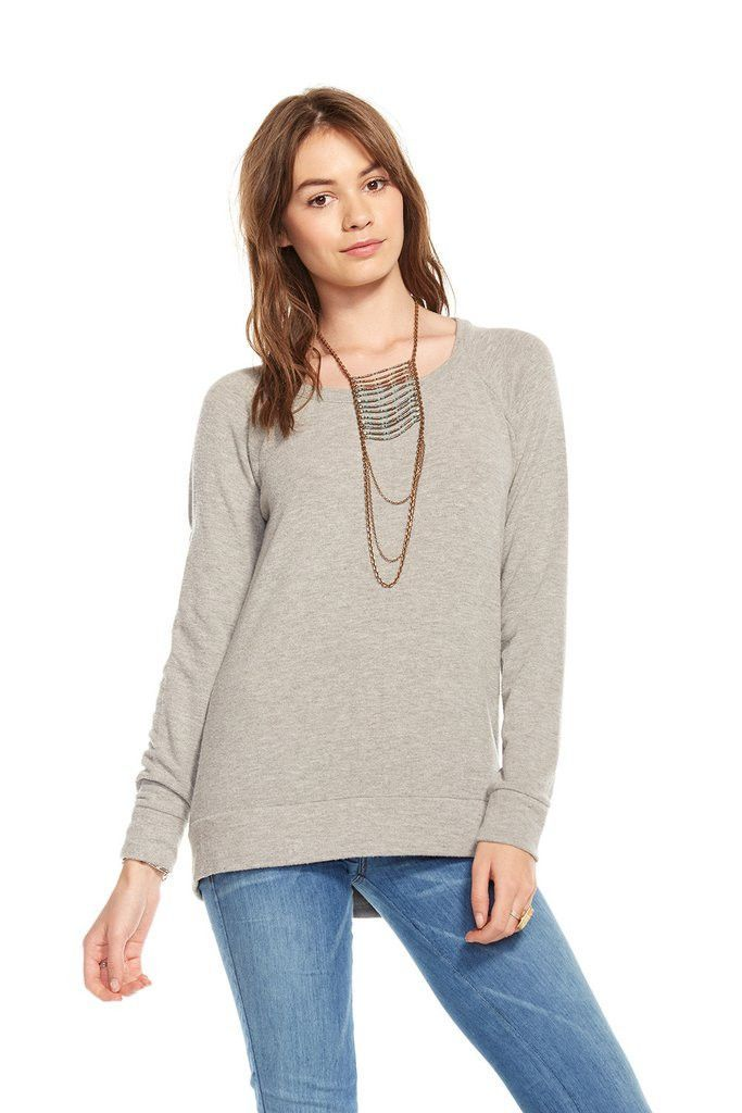 Chaser Love Knit Open Back Long Sleeve Pullover Sweater
