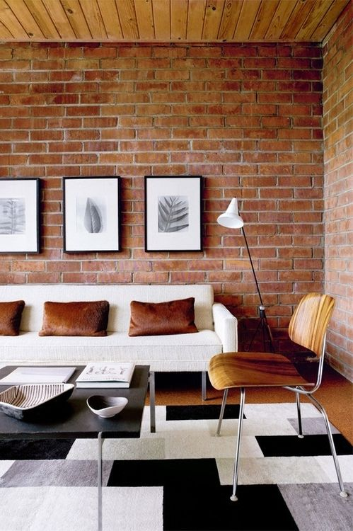 brick wall in the family room i m all for it the styling of this rh pinterest com