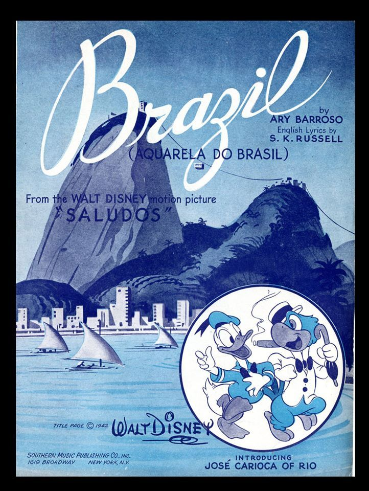 Brazil Friends Poster Old Sheet Music Old Disney