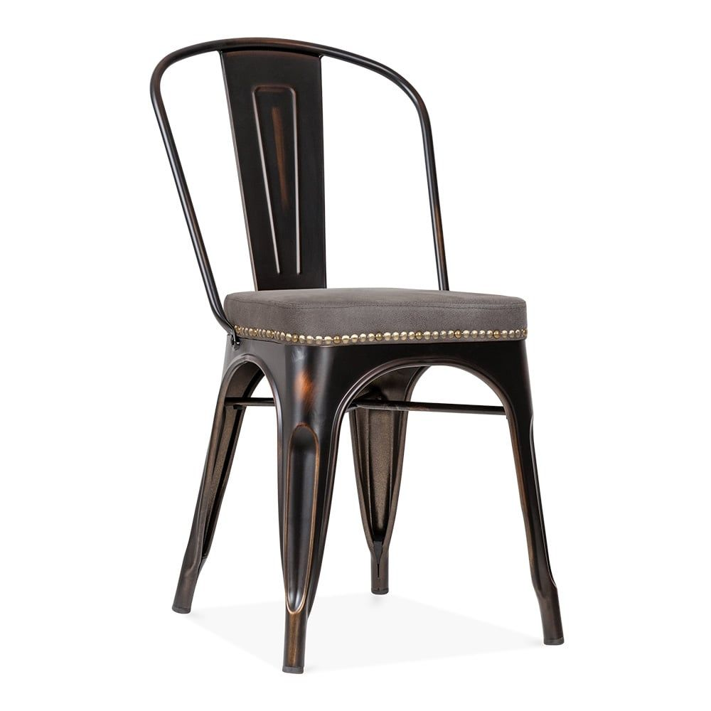 Xavier Pauchard Tolix Style Metal Side Chair Faux Leather Cushion