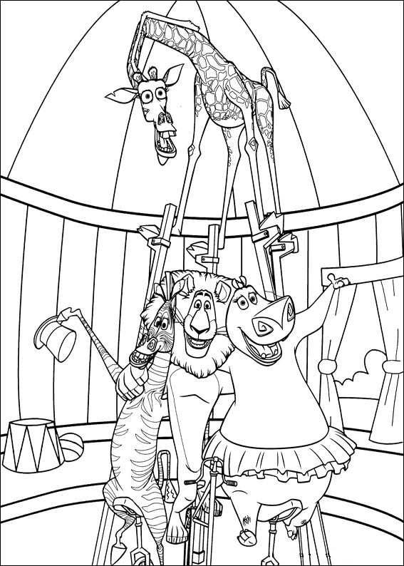 coloring page Madagascar 3 - Alex, Marty, Gloria and Melman ...