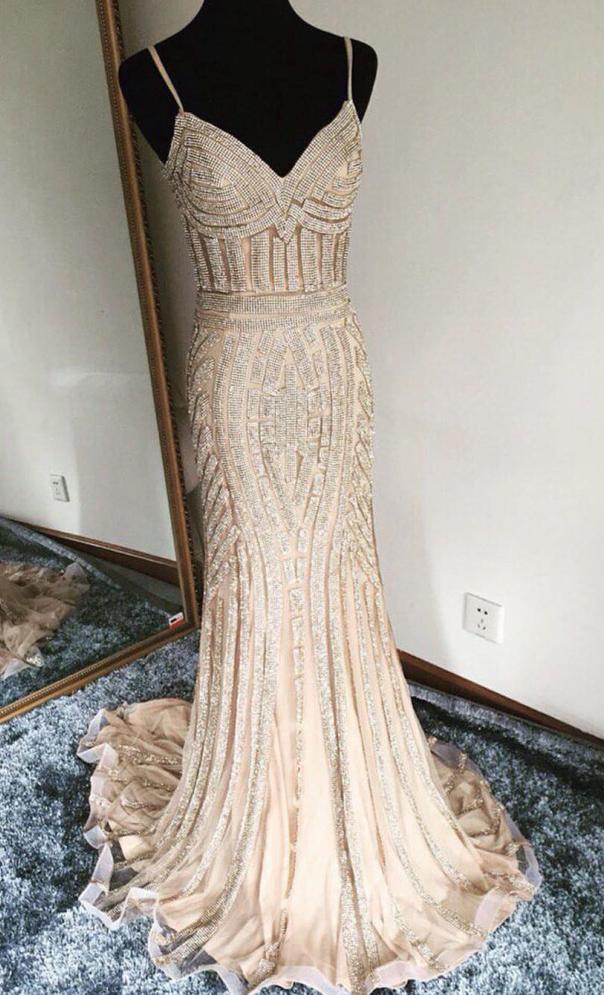 champagne prom dress,mermaid prom dress,mermaid evening dress,gold beading