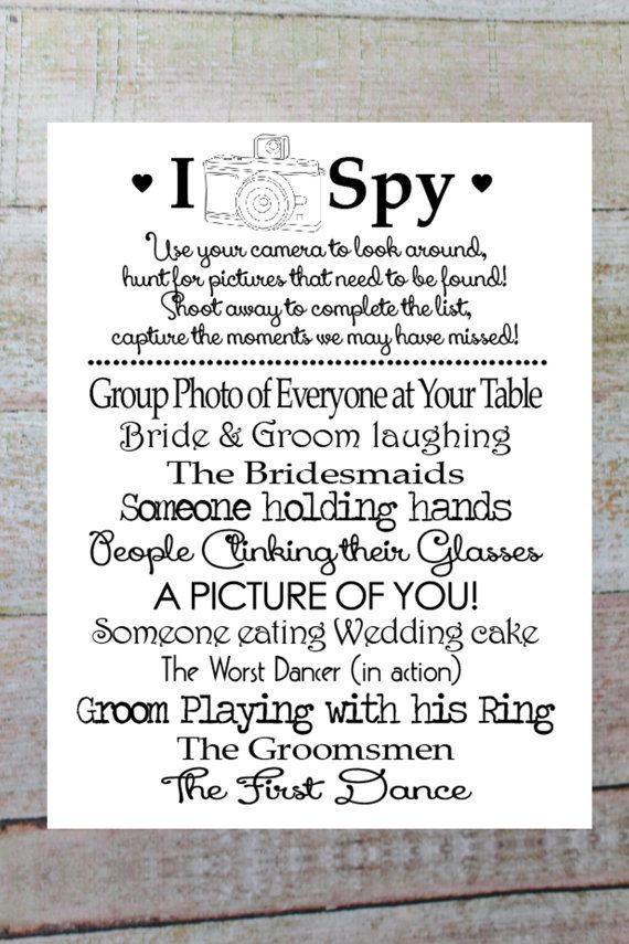 I SPY Wedding Game, Instant Download DIY Printable, Photo Challenge ...