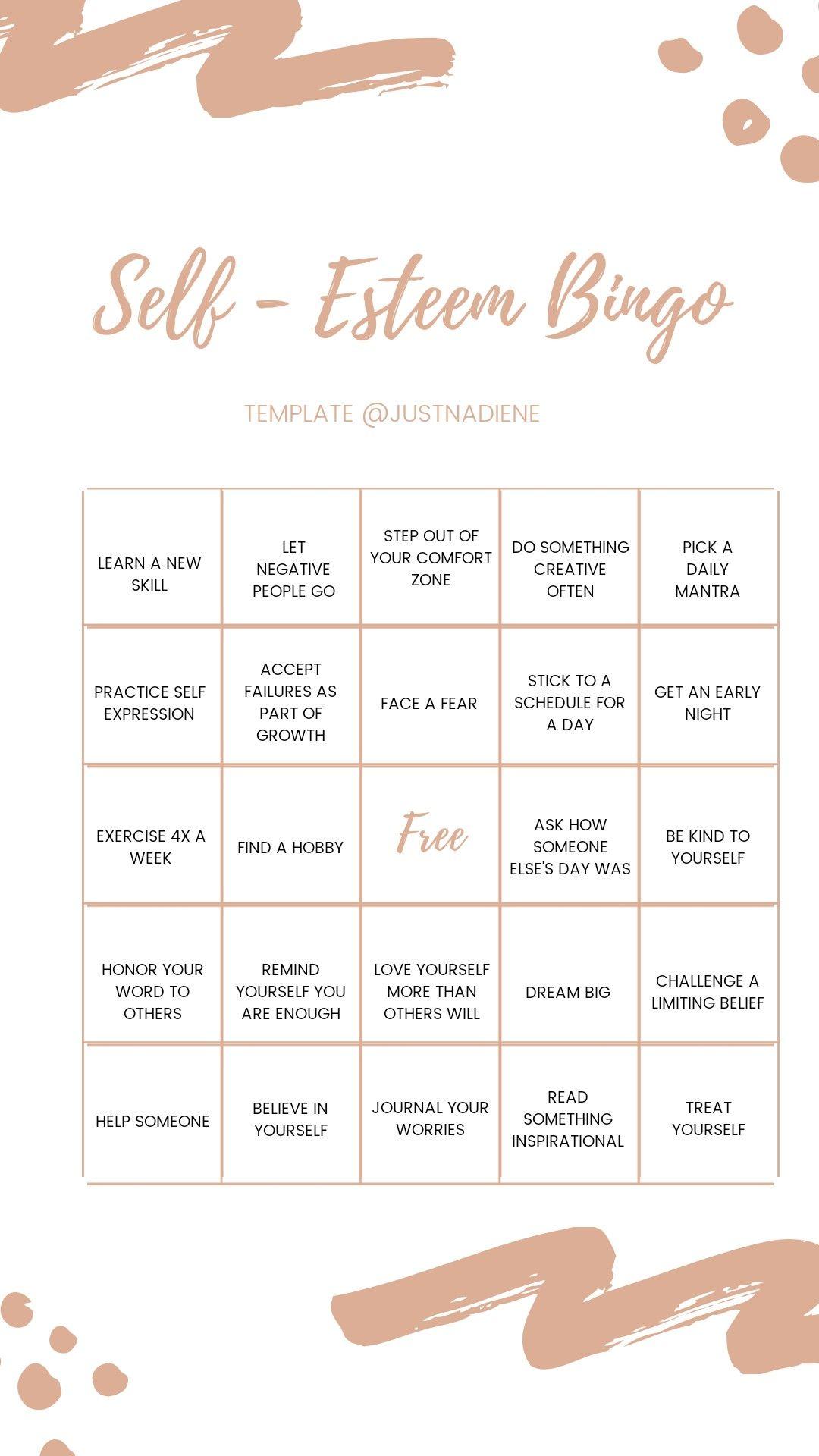 Self Esteem Bingo Follow Justnadiene For More Instagram Story Templates Bingo Template Bingo Instagram Template