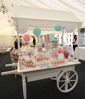 Table Setup Candy Cart Made From With Handles And Wheels On Front