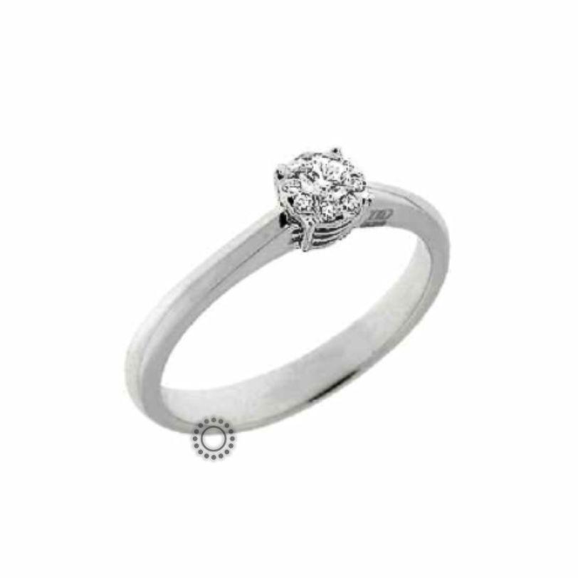 Μονόπετρο δαχτυλίδι με μπριγιάν από λευκόχρυσο σε στυλ μονόπετρου  amp   ροζέτας με διαμάντια σε οικονομική 003c90cc3b5