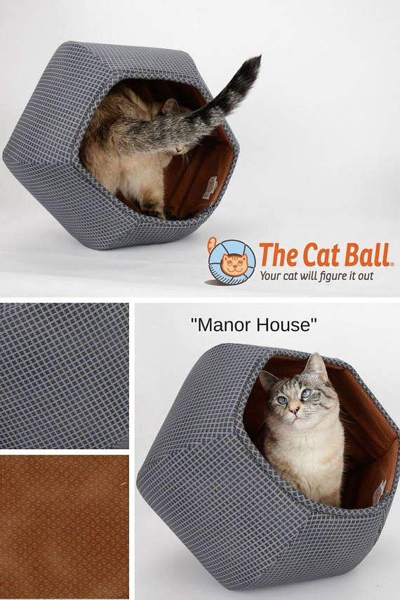 Our Navy Blue And Brown Cat Cave Design Is Called The Cat Ball® Cat Bed.  Our Original Cat Bed Design Is Hexagonal And Has Two Openings.This Modern U2026