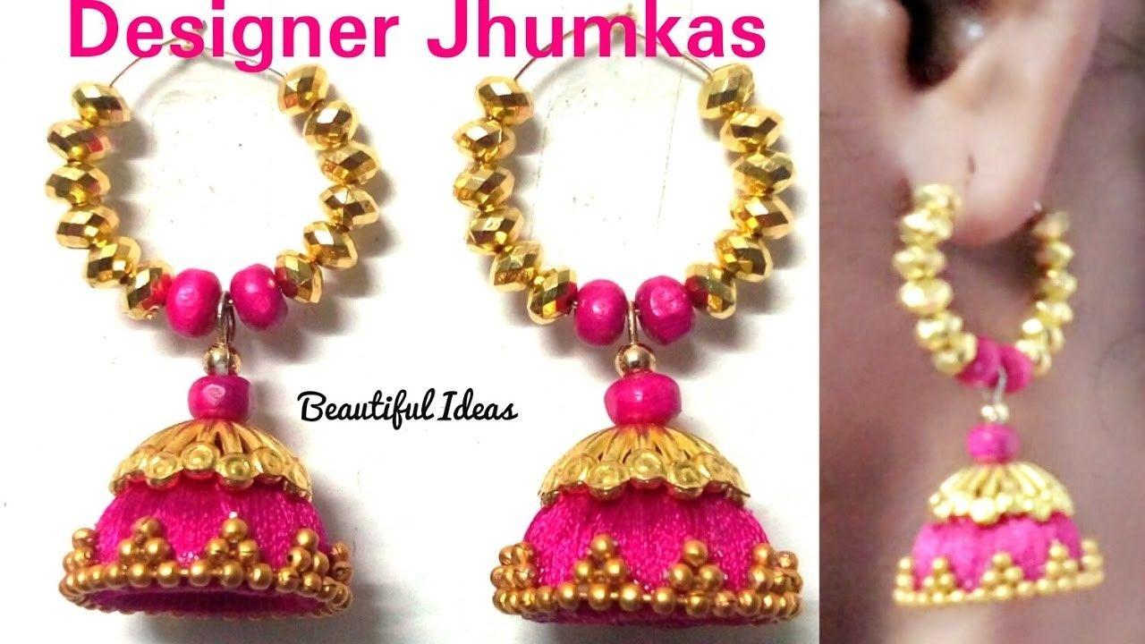 How to make Silk thread Designer Jhumkas. Earrings at Home. Hoop ...