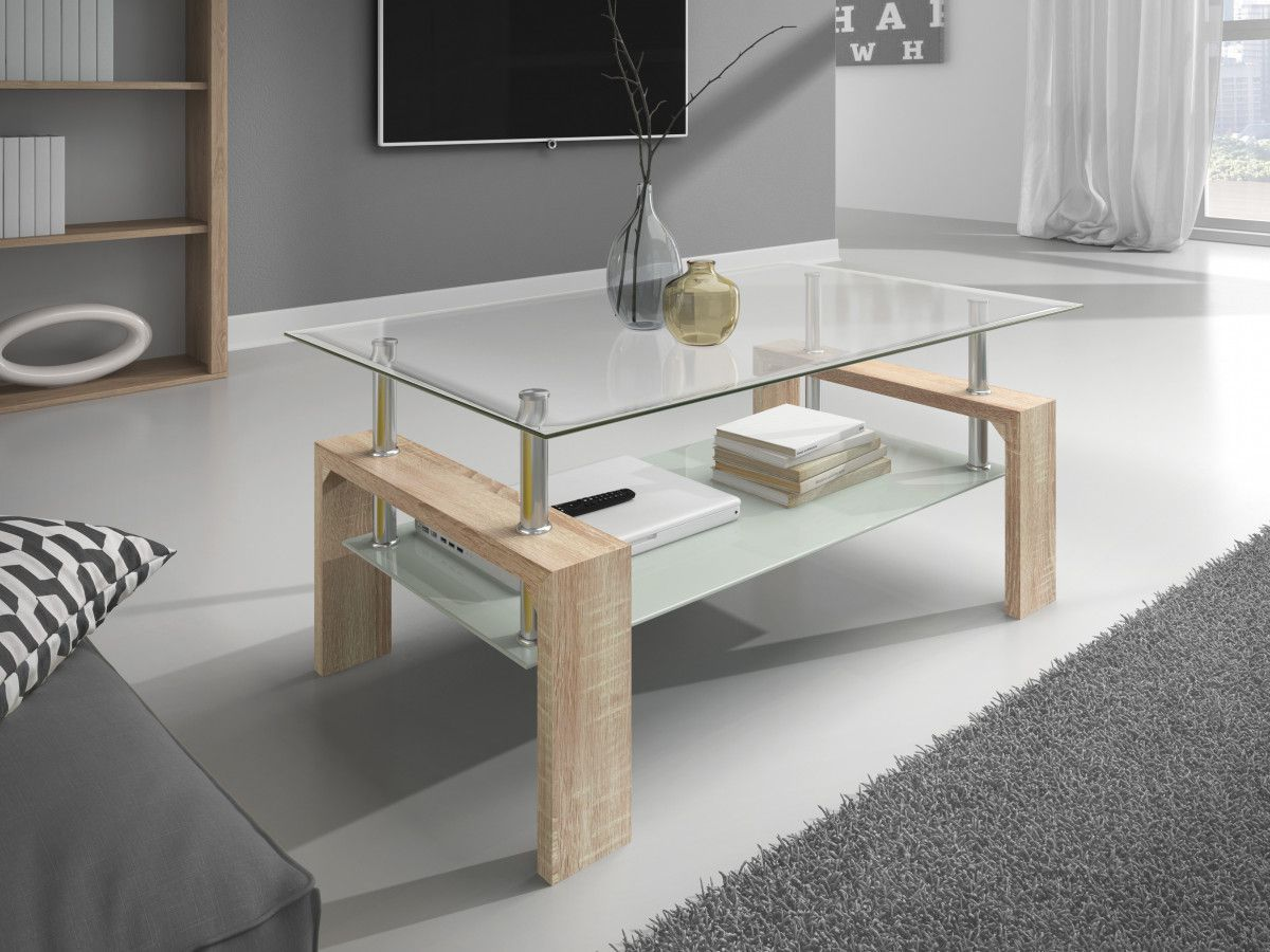 Table Basse 100 Cm 2 Plateaux En Verre Ultra Design Coloris Sonoma Table Basse Table Basse Design Table Basse Verre