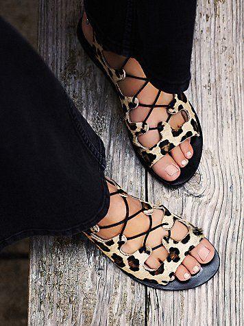 Lace up sandals, Leopard print shoes