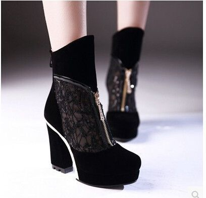 Women new fashion spring Summer round toe 10.5cm thick high heels sexy lace breathable vintage sandals scrub shoes