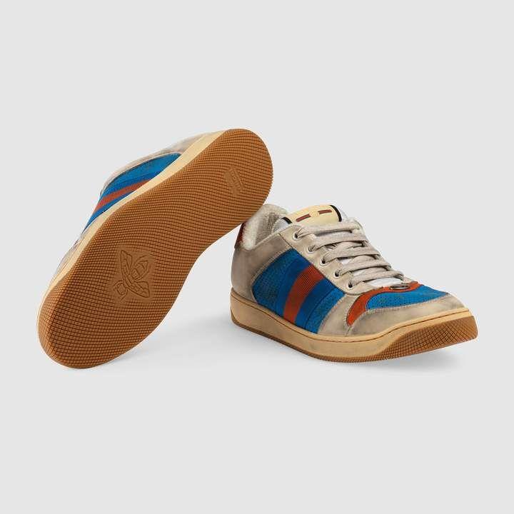 9d8ca55194e Gucci Distressed leather sneaker Vintage Sportswear