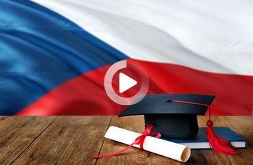 Czech Republic education concept. Graduation cap and diploma on wooden