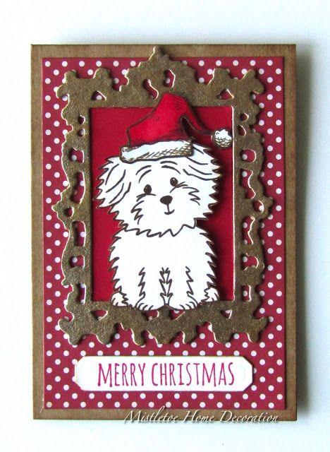 Christmas card with a Bichon - Stephanie Barnard Cookie stamp