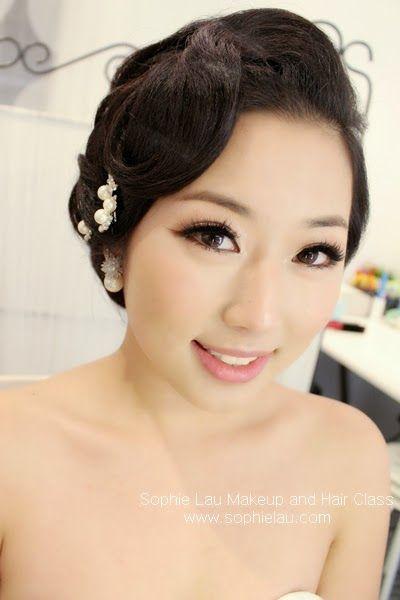 Asian Bridal Hairstyle : Up hair style semi smoky eye make up korean concept wedding