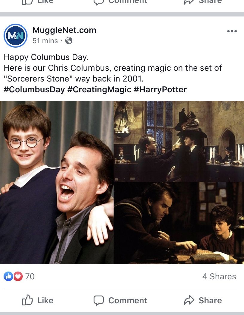 Pin By Crystal Hough On Ode To Harry Potter Happy Columbus Day Chris Columbus Harry Potter
