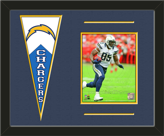 One framed 8 x 10 inch San Diego Chargers photo of Antonio Gates with a San Diego Chargers mini felt banner, double matted in team colors to 20 x 16 inches.  The lines show the bottom mat color.  (Pennant design subject to change)  $79.99 @ ArtandMore.com