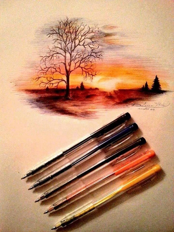 Pen Sunset With Images Art Drawings