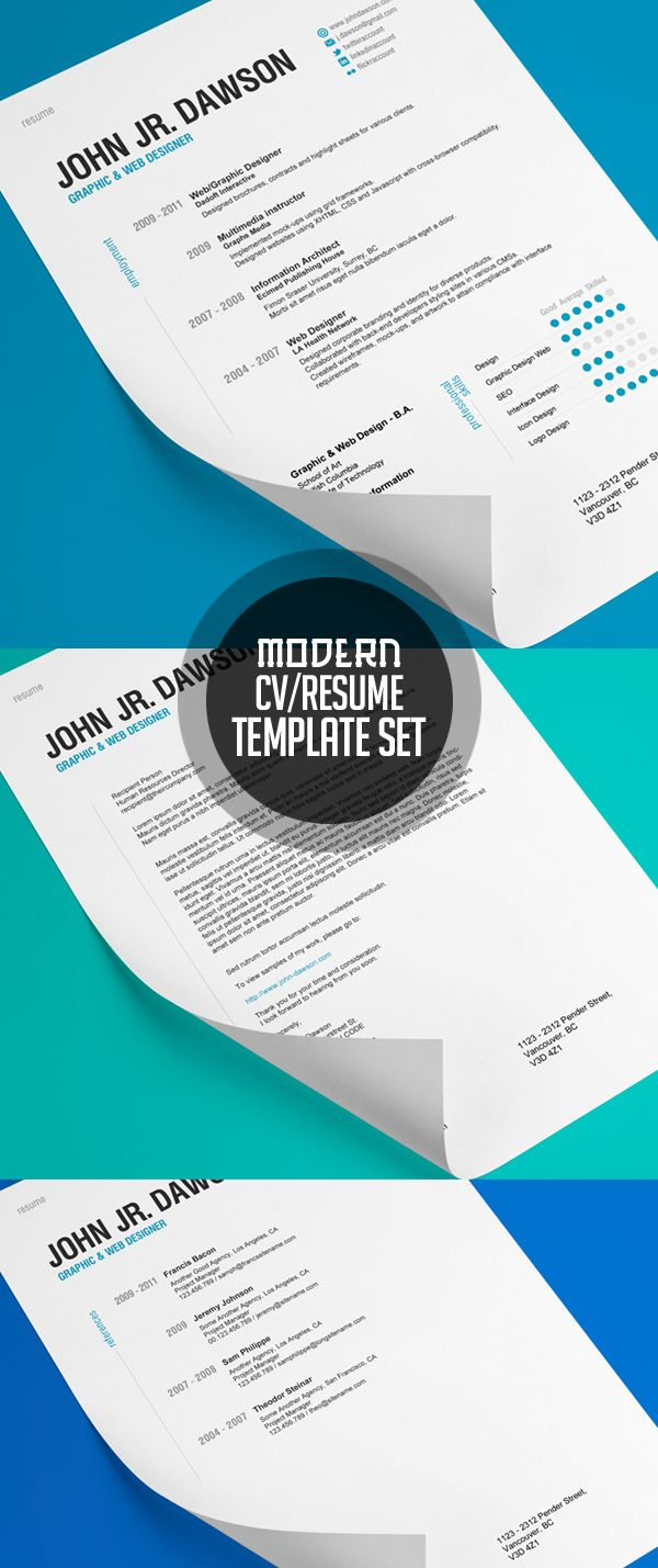 graphic design resume template%0A Ideas para CVS creativos  Cv Resume TemplateCover