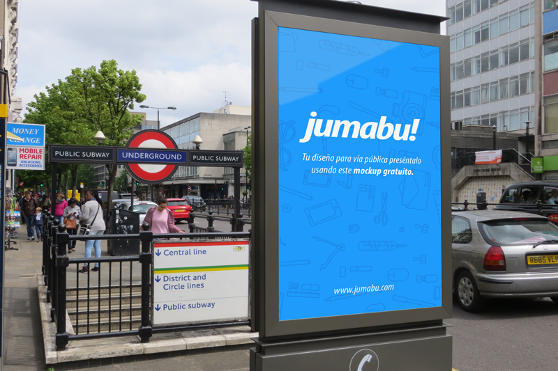 Mockup De Cartelería Vía Pública Jumabu Metro Londres Photoshop Carteles En La Puerta
