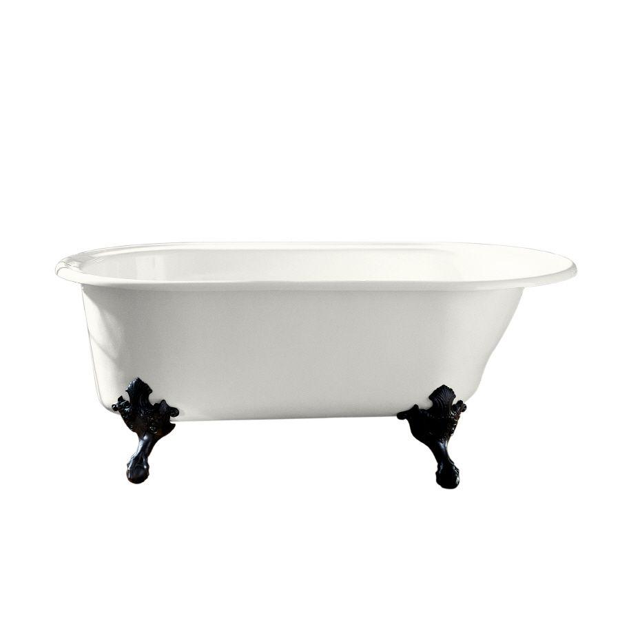 Kohler iron works historic white cast iron oval clawfoot bathtub