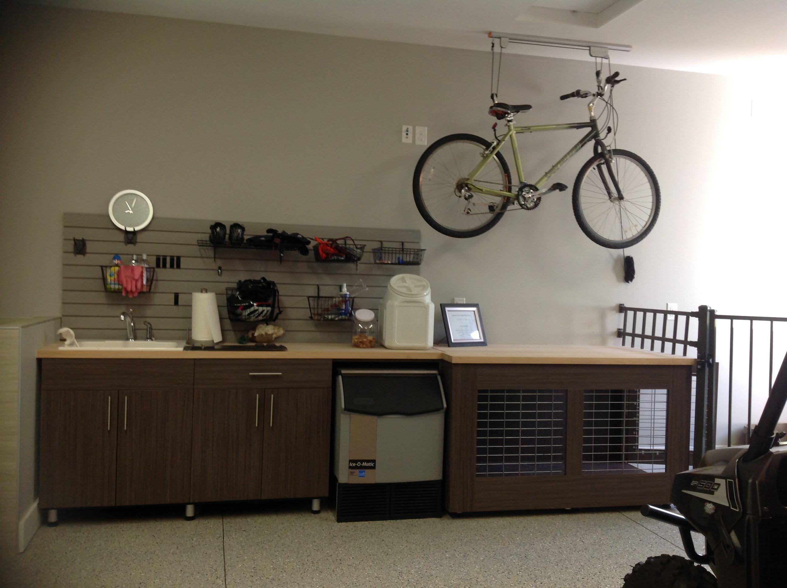 Garage work bench with dog kennel attached Garages