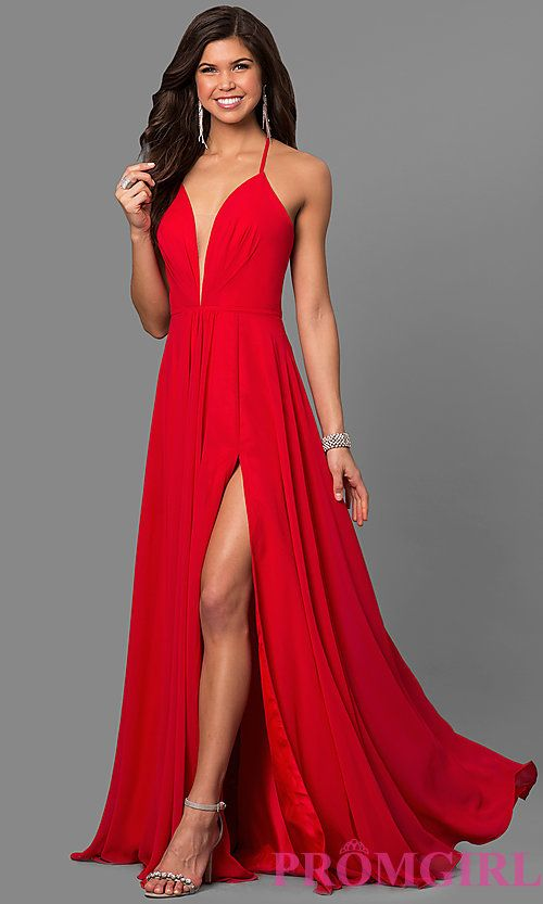 4a46f52db10c Image of long low v-neck thigh slit corset back dress Style  FA-7747 Front  Image