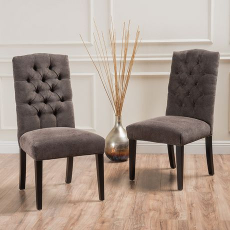 Noble House Elena Crown Top Dark Grey Dining Chairs Set Of 2