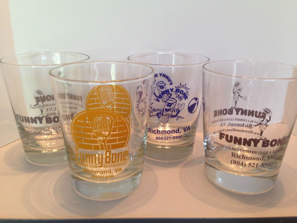 4 Funny Bone Comedy Club Cocktail Mixed Drink Glasses