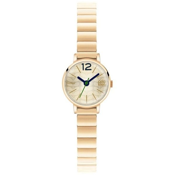 Orla Kiely Women's Tiny Case Bracelet Strap Watch ($97) ❤ liked on Polyvore featuring jewelry, watches, gold, orla kiely, clear crystal jewelry, stainless steel watches, stainless steel wrist watch and leather-strap watches