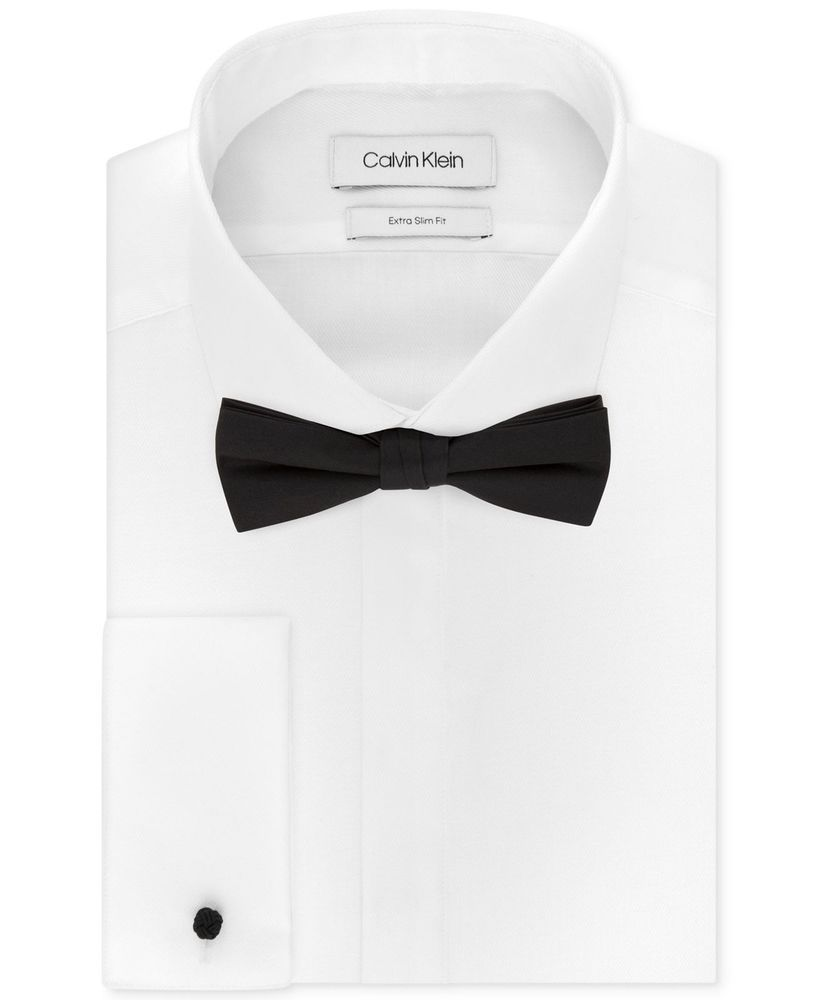 195 Calvin Klein Men X Extra Slim Fit White French Cuff Dress Shirt